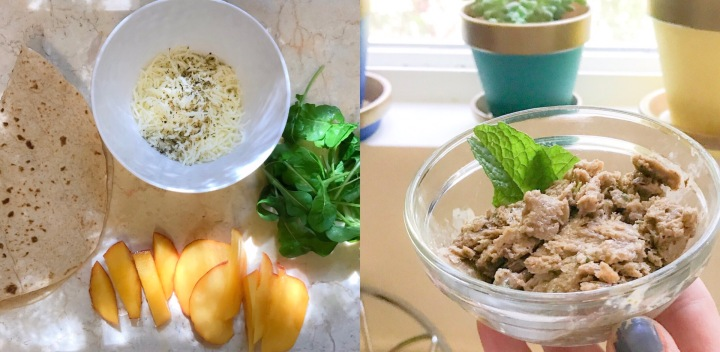 5 Minute Healthy Lunch Ideas: Peach + Arugula Quesadilla & Homemade 3 Ingredient Mint Chocolate Ice Cream ..